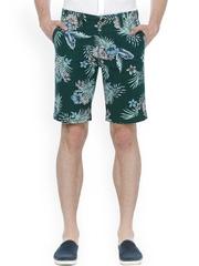 Basics Men Green Printed Comfort Fit Shorts