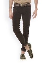 Basics Men Dark Green Tapered Fit Trousers