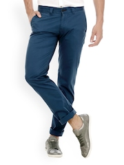 Basics Men Blue Tapered Fit Chino Trousers