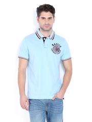 Basics Men Blue Polo T-shirt