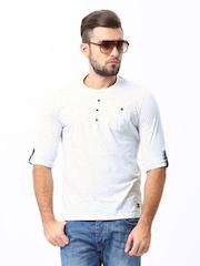 Men White Henley T-shirt Basics