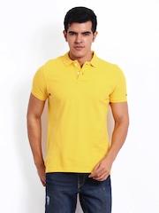 Basics Men Yellow Muscle Fit Polo T-shirt