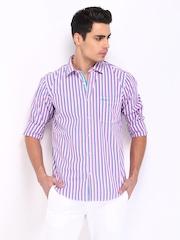 Basics Men White & Blue Striped Slim Fit Smart-Casual Shirt