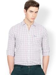 Men White & Red Checked Shirt Basics