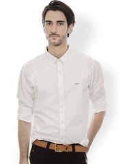 Men White Slim Fit Printed Casual Shirt Basics