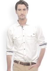 Men White Slim Fit Smart Casual Shirt Basics 583922