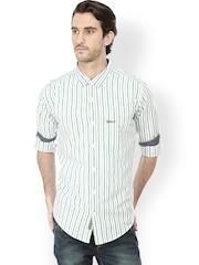 Men White Slim Fit Striped Casual Shirt Basics