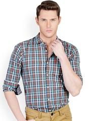 Basics Multicoloured Checked Slim Fit Smart Casual Shirt