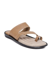 Bata Men Camel Brown Leather Sandals