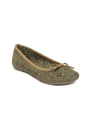 Bata Women Olive Green Flat Shoes
