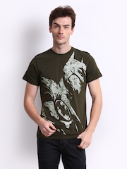 Batman Men Olive Green Printed T-shirt