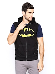 Batman Men Black Printed Sleeveless Sweatshirt