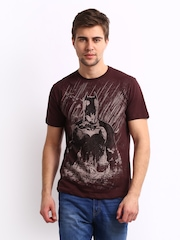Batman Men Burgundy Printed T-shirt