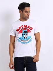 Batman Men White Printed T-shirt