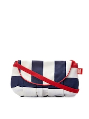 Be For Bag Beige & Navy Striped Sling Bag