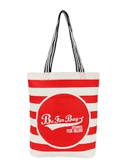 Be For Bag Women White & Red Printed Tote Bag