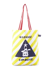Be For Bag Women White & Yellow Printed Tote Bag