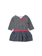 Beebay Girls Navy Striped Fit & Flare Dress