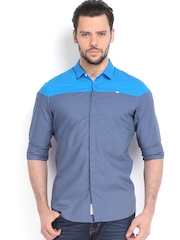 Being Human Clothing Men Blue & Grey Casual Shirt