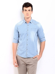 Being Human Clothing Men Blue Denim Slim Fit Casual Shirt