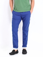 Being Human Clothing Men Blue Linen Blend Chino Trousers