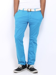 Being Human Clothing Men Blue Slim Fit Chino Trousers