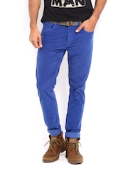 Being Human Clothing Men Blue Slim Fit Corduroy Trousers