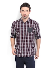 Being Human Clothing Men Burgundy & Black Checked Slim Fit Casual Shirt
