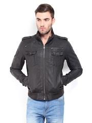 Being Human Clothing Men Dark Brown Bomber Jacket