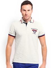 Being Human Clothing Men Grey Melange Polo T-shirt
