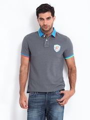 Being Human Clothing Men Grey Polo T-shirt