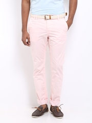 Being Human Clothing Men Light Pink Slim Fit Chino Trousers