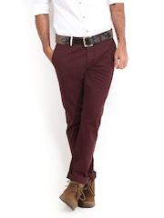 Being Human Clothing Men Maroon Slim Fit Trousers