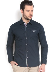 Being Human Clothing Men Navy Slim Fit Casual Shirt