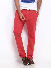Being Human Clothing Men Red Slim Fit Chino Trousers