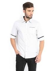 Being Human Clothing Men White & Black Printed Slim Fit Casual Shirt