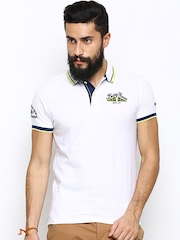 Being Human Clothing Men White Polo T-Shirt