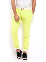 Being Human Clothing Men Yellow Slim Fit Linen Blend Chino Trousers