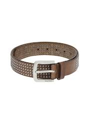 Being Human Clothing Men Brown Leather Belt