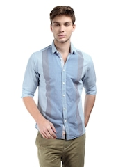 Being Human Clothing Men Blue & White Checked Slim Fit Casual Shirt