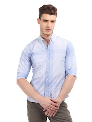 Being Human Clothing Men Blue & White Micro Check Slim Fit Casual Shirt