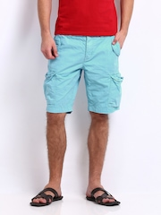 Being Human Clothing Men Blue Cargo Shorts