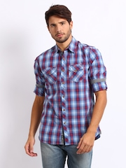 Being Human Clothing Men Blue Checked Casual Shirt