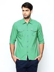 Being Human Men Green Slim Fit Casual Shirt