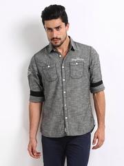 Being Human Clothing Men Grey Melange Slim Fit Casual Shirt