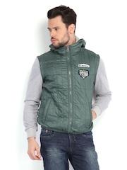 Being Human Clothing Men Green Hooded Jacket