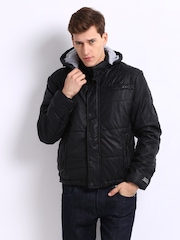 Being Human Clothing Men Black Hooded Padded Jacket