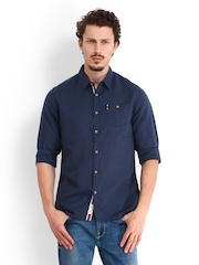 Being Human Clothing Men Navy Linen Blend Slim Fit Casual Shirt