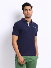 Being Human Clothing Men Navy Pique Polo T-shirt