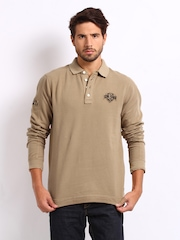 Being Human Clothing Men Sand Brown Pique Polo T-shirt